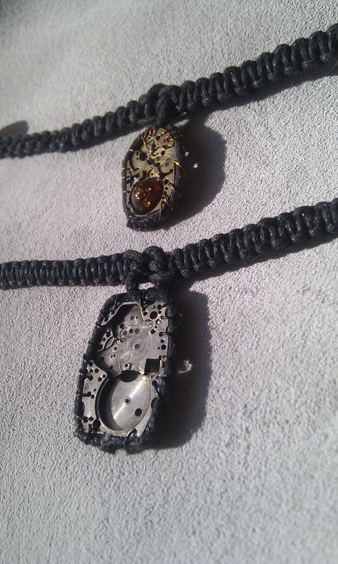 Minimal macrame steampunk necklaces by aequinox on deviantart for Minimal art jewelry