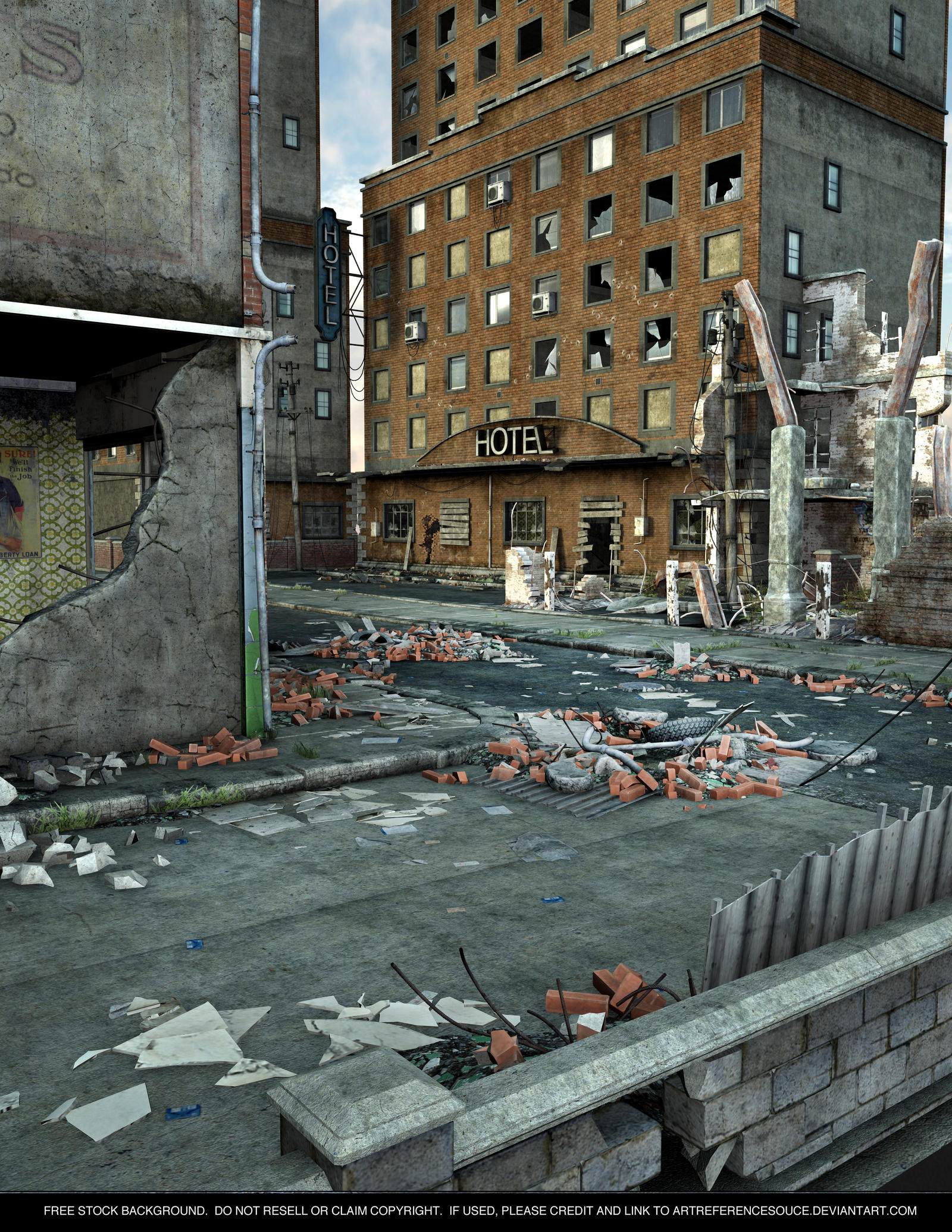 FREE STOCK Background - Destroyed City