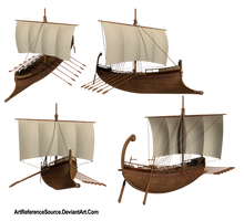 Stock:  Greek Ship from various angles PNG by ArtReferenceSource