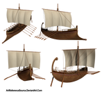Stock:  Greek Ship from various angles PNG