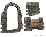 Stock:  Stone wall and arch PNG