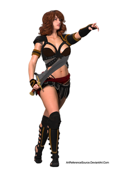 Free Stock:  Woman with Sword Pointing PNG