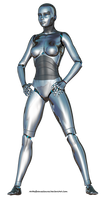 Free Stock:  Female Robot 3d render PNG