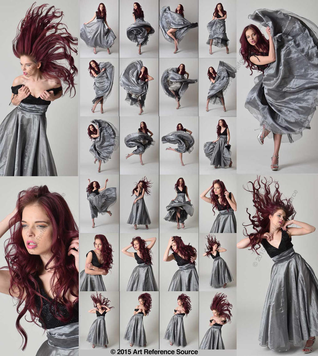 Stock:  April in Silver Dress Tossing Her Hair