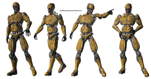 Free PNG:  Android / Robot in 4 poses