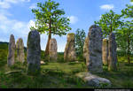 Stock:  Ceremonial Stone Pillars Background