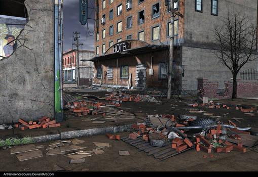 Stock:  Destroyed Town Background