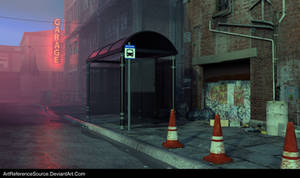 Free Stock Background: City Street at Dusk by ArtReferenceSource