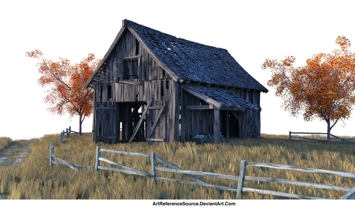 PNG:  Barn and Field - just add a sky by ArtReferenceSource