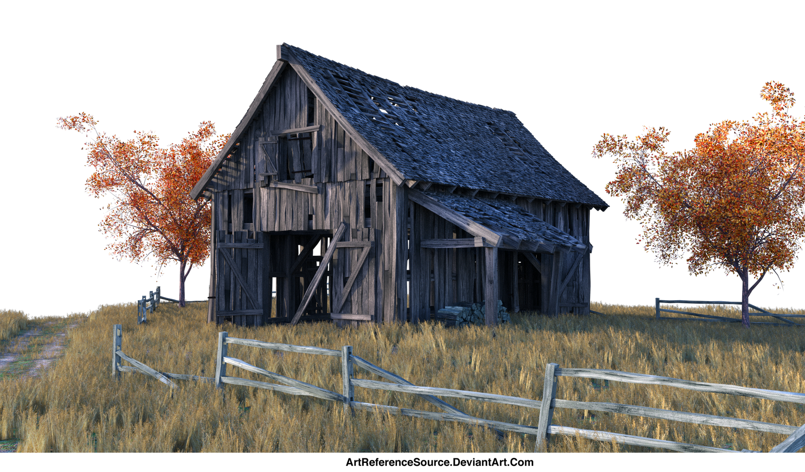 PNG:  Barn and Field - just add a sky