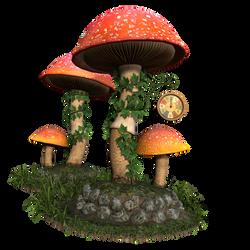 Free Stock PNG:  Fantasy Mushroom Scene