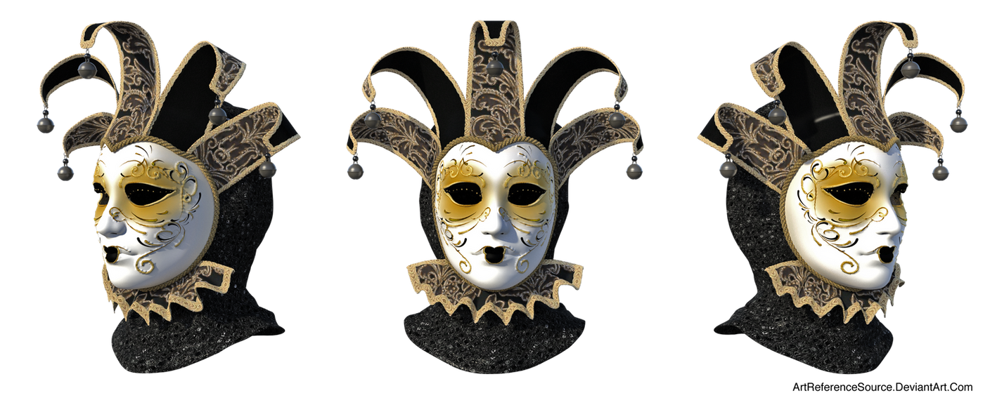 Free Stock PNG:  Venetian Mask from 3 angles by ArtReferenceSource