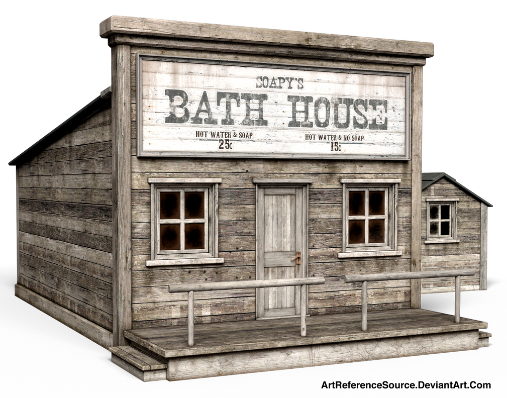 Free Stock PNG:  Old Western Bath House by ArtReferenceSource