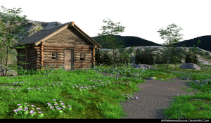 Free Stock PNG:  Cabin in woods background by ArtReferenceSource