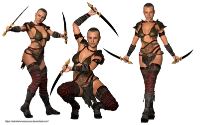 Free Stock PNG:  Warrior in three poses