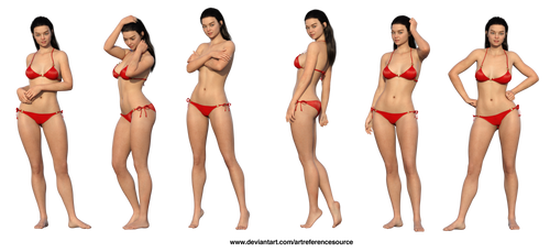 Free Stock PNG:  Girl in red bikini by ArtReferenceSource