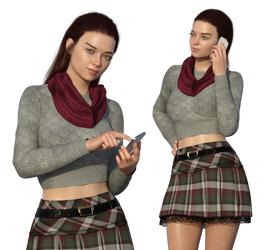 Free Stock PNG:  Pretty girl with phone 3d render by ArtReferenceSource