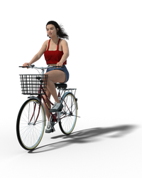 Free Stock PNG:  Girl on bike 3D render by ArtReferenceSource