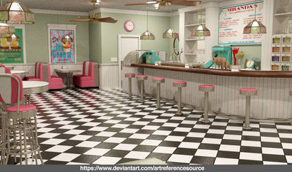 Free Stock:  Retro Soda Shop Background