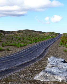 Free Stock JPG:  Long road 3D render