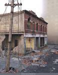 Free Stock JPG:  Destroyed buildings in fog