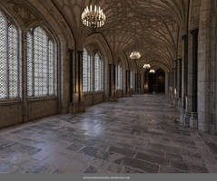 Free Stock PNG:  Beautiful Gothic Hallway
