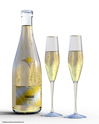 Free Stock PNG:  Champagne Bottle and Glasses