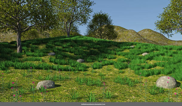 Stock:  Grassy Hills and Trees Background