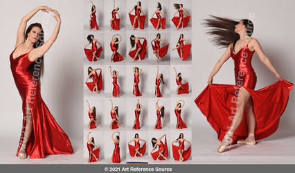 Stock:  Mara Ballet Poses in Red Gown