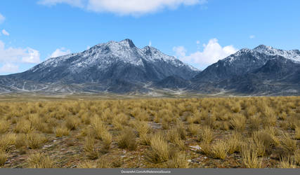 Free Stock Background:  Mountains and field