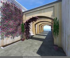 Free Stock Background:  Breezeway w Flowers