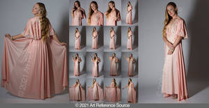 Stock: Anna in Pink Silk Gown Dramatic Lighting