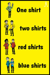 One shirt, two shirts, red shirts, blue shirts