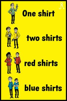 One shirt, two shirts, red shirts, blue shirts
