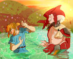 Link and Sidon playing in the river