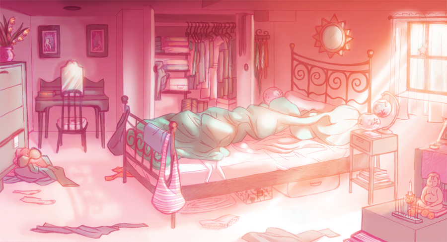 Drawing Of Girl In Room