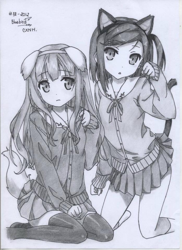Azusa and Tsukiko - Hentai Ouji To Warawanai Neko by HentaiOuji
