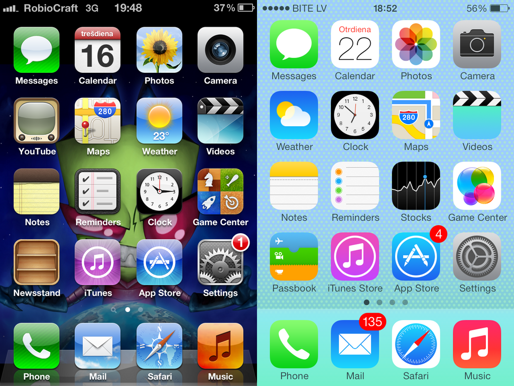 iOS 6 vs iOS 7 design differences comparison: the end of skeuomorphism