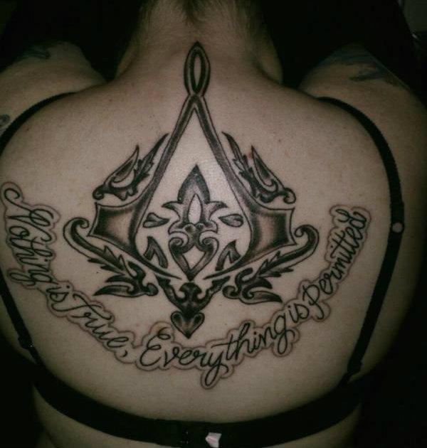 Assassin's Creed Back Tattoo by KeraValentine