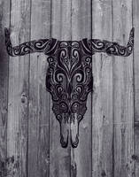 Abstract Rustic Bull Skull by BS4711
