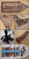 Dark Wolf Pencil Wrap - handmade art-wrap