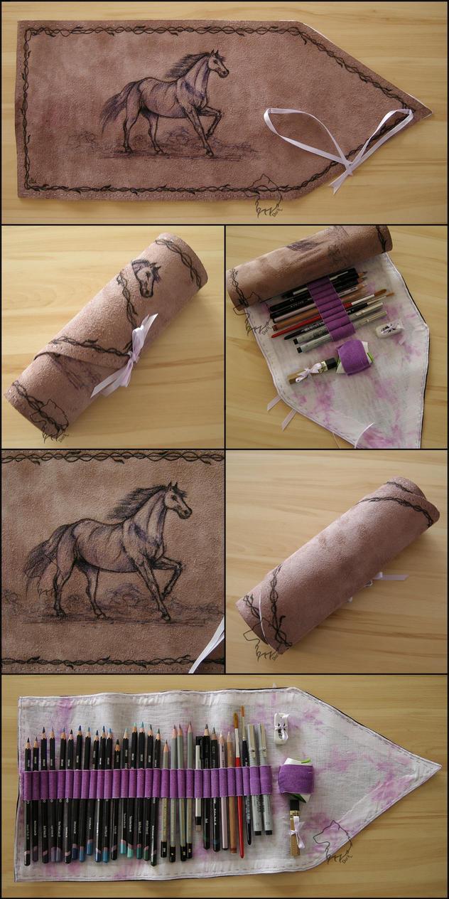PurpleHorse - Handmade Pencil Wrap by Dark-Lioncourt