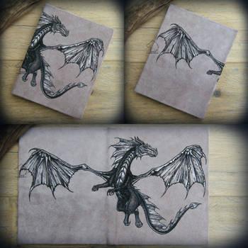 Dragon Sky - leather journal by Dark-Lioncourt