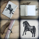 Black Stallion - leather softcover journal by Dark-Lioncourt