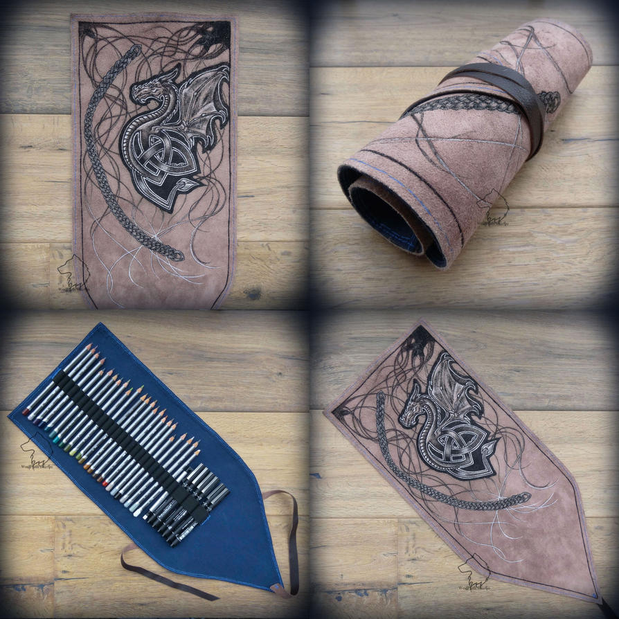 Celtic Dragon leather pencil roll by Dark-Lioncourt