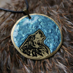 Ocean Moonbound Wolf pendant by Dark-Lioncourt