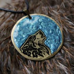 Ocean Moonbound Wolf pendant