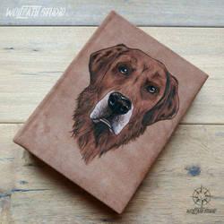 Leather photo album - dog portrait by Dark-Lioncourt