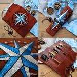 Blue Compass - leather pencil roll