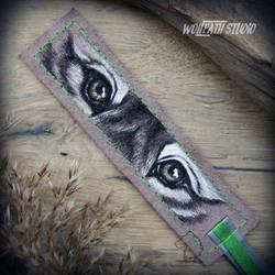 Wolf Eyes leather bookmark by Dark-Lioncourt